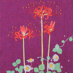 彼岸花 −リネン・染和紙・刺繍糸・糸芯・紙粘土ー  *お買上済