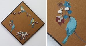 木の実サイクル(ナンキンハゼと鳥)ー染和紙・フエルト・ビーズ・刺繍糸