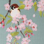 桜と雀(カレンダー用)ーリネン・染和紙・刺繍糸・ビーズ ー