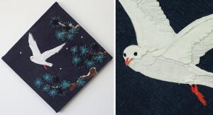渡り鳥(松葉とユリカモメ)ーリネン・染め和紙・ビーズ・刺繍糸