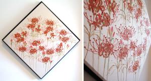 火の輪 ー楮和紙・染和紙・糸芯・粘度・日本画絵具・刺繍糸