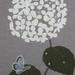 紫陽花と蝶  ーコットン・染和紙・ビーズ・スパンコール・刺繍糸 ー