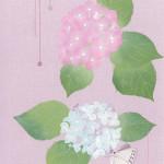 紫陽花  ーリネン・染和紙・スパンコール・ビーズ・刺繍糸 ー