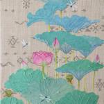 蓮と蜻蛉  ー古裂(紗)・染和紙・ビーズ・刺繍糸ー