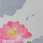 蓮とメダカ  ーリネン・染和紙・紬糸・ビーズ・レース糸・刺繍糸 ー
