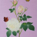 白い薔薇と蝶  ーリネン・染和紙・刺繍糸・ビーズ ー