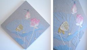 蓮の葉ーリネン・染め和紙・レース糸・刺繍糸・ビーズ