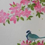 つつじと野鳥 ー 手漉き和紙・染和紙・糸芯・ビーズ・刺繍糸 ー