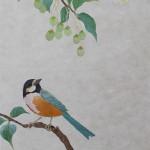エゴとヤマガラ  ー 楮・染和紙・刺繍糸・ビーズ ー