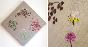 詰草(クローバーと蜂)ーリネン・染和紙・刺繍糸ー