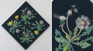 タンポポと綿毛 ーリネン・染め和紙・刺繍糸・麻紐・ビーズー