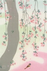 コラージュ 枝垂れ桜に雀