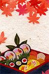 レターパッド『旬の折り詰め』用 貼り絵イラスト