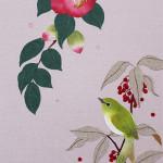 紅椿とメジロ(カレンダー用) ーリネン・染和紙・刺繍糸・ビーズー