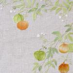 ふうせんかずら ーリネン・染め和紙・ビーズ・刺繍糸 ー
