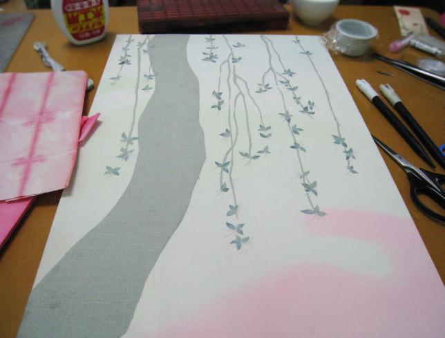 コラージュ制作中 枝垂れ桜